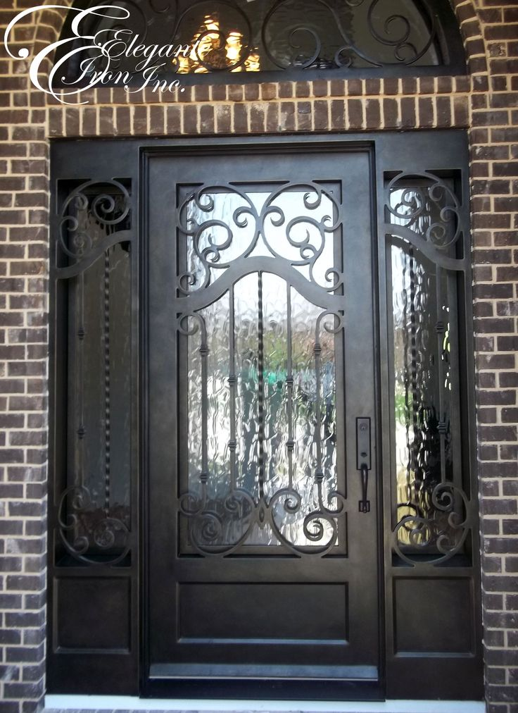 Custom iron door with side lights and transom single for Door with light