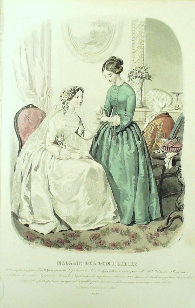 GRAVURE de MODE AUTHENTIQUE-M153-MAGASIN DEMOISELLES-ROBE DE MARIEE-1853