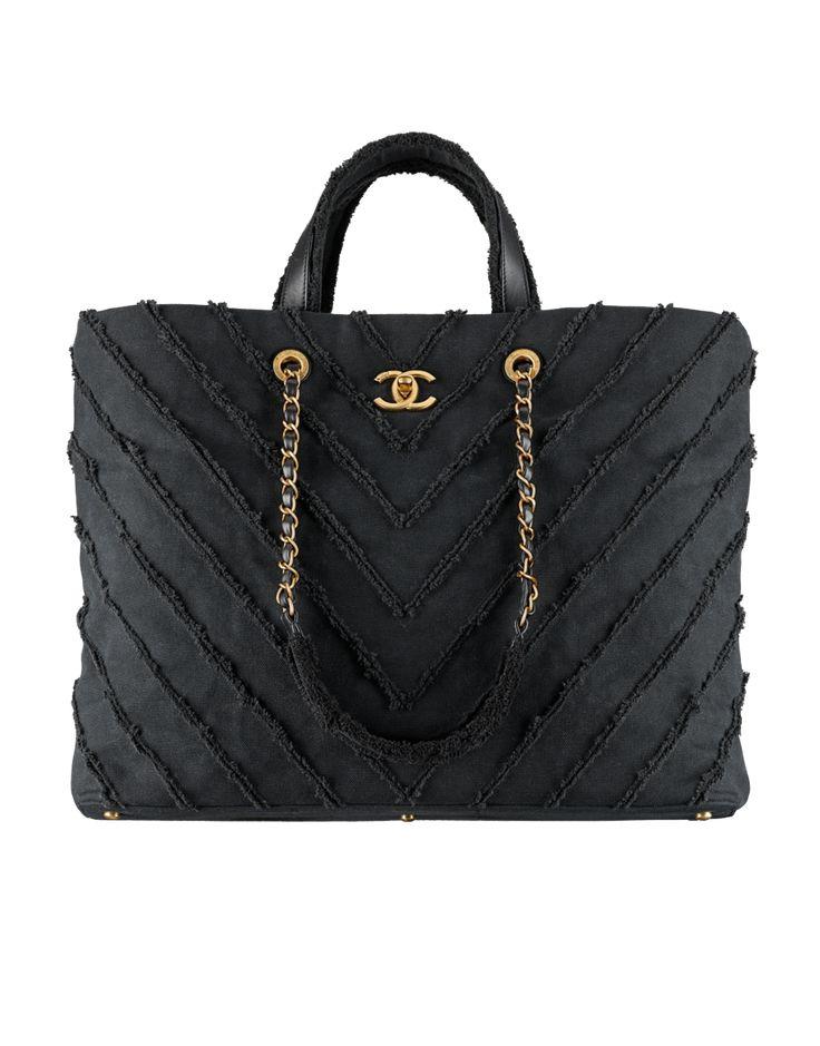 Grand sac shopping, patchwork de toile & métal doré-noir - CHANEL