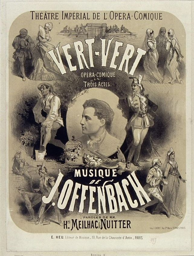 "Poster (1868), by Jules Chéret (1836-1932), for ""Vert-Vert"" (1869), by Jacques Offenbach [born Jakob Eberst] (1819-1880)."