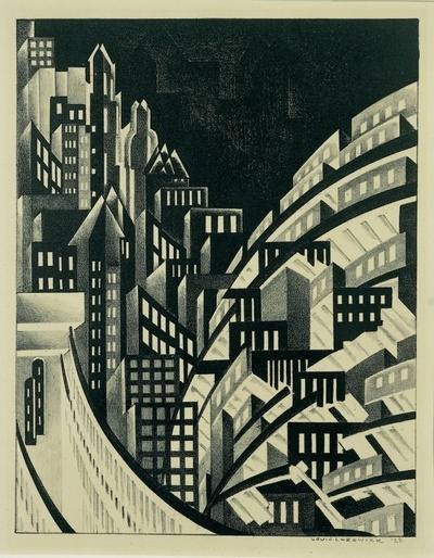 Louis Lozowick New York 1925 lithograph - at the Whitney