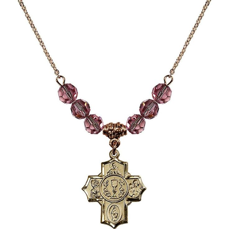 18-Inch Hamilton Gold Plated Necklace with 6mm Light Rose Pink October Birth Month Stone Beads and Communion/5-Way Charm. 18-Inch Hamilton Gold Plated Necklace with 6mm Light Rose Birthstone Beads and Communion/5-Way Charm. Hand-Made in Rhode Island. Lifetime guarantee against tarnish and damage. Hamilton gold is a special alloy designed to have a rich and deep gold color.