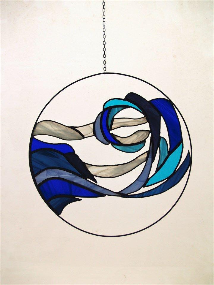 'Golf', Raamhanger Tiffany, glas, blauw. | Made By Caleidas Glas