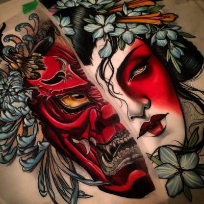 samsmithtattoo:  Matchies! Hannya by @andrewwheeler, Geisha by me, we would love to do these as a matching set! Maybe thighs..email sam.c.smith@hotmail.com :) #itriedjapanesestuff #d8nite