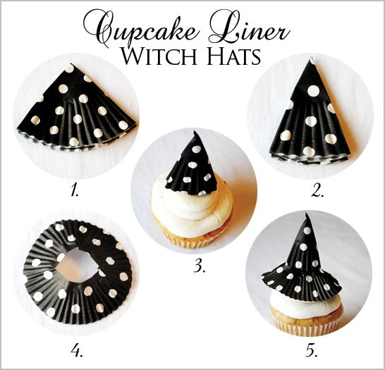 HALLOWEEN: Cupcake Liner Witch Hat Tutorial :-) so clever!