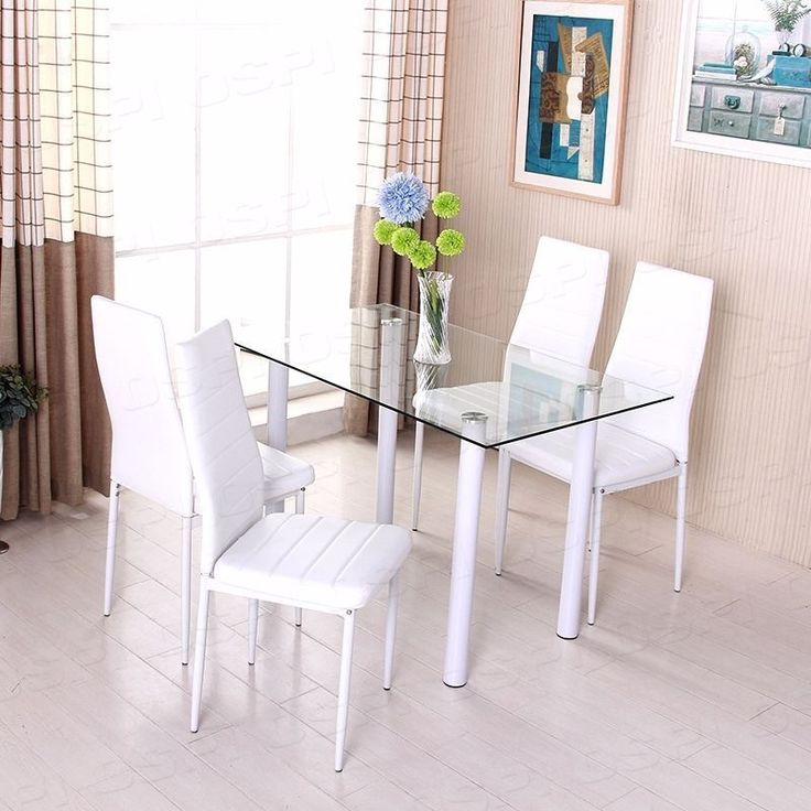 White Dining Table Set with 4 Foam Padded High Back Chairs Tempered Glass Table