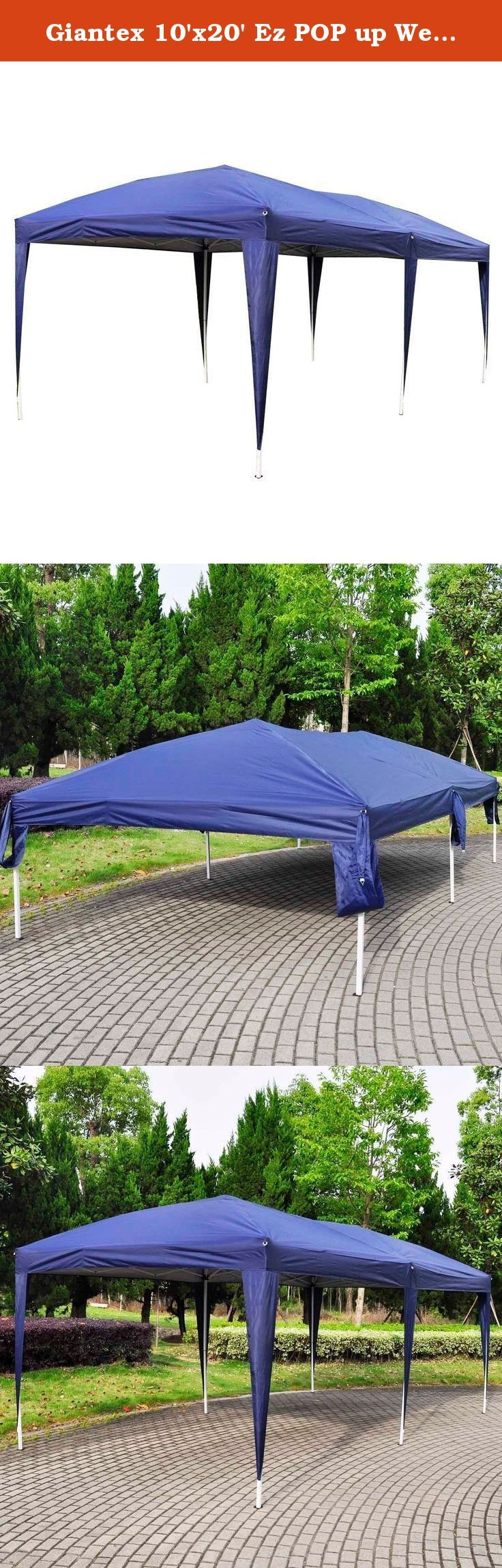Giantex 10'x20' Ez POP up Wedding Party Tent Folding Gazebo Beach Canopy W/carry Bag (Blue). This Is Our High Quality Tents Can Be Conveniently Carried And Are Perfect For Many Outdoor Needs, Ideal For Commercial Or Recreational Use - Parties, Weddings, Flea Markets, Etc. Can Be Erected On Hard Surfaces Such As Decks, Driveways, Lawn, Etc.