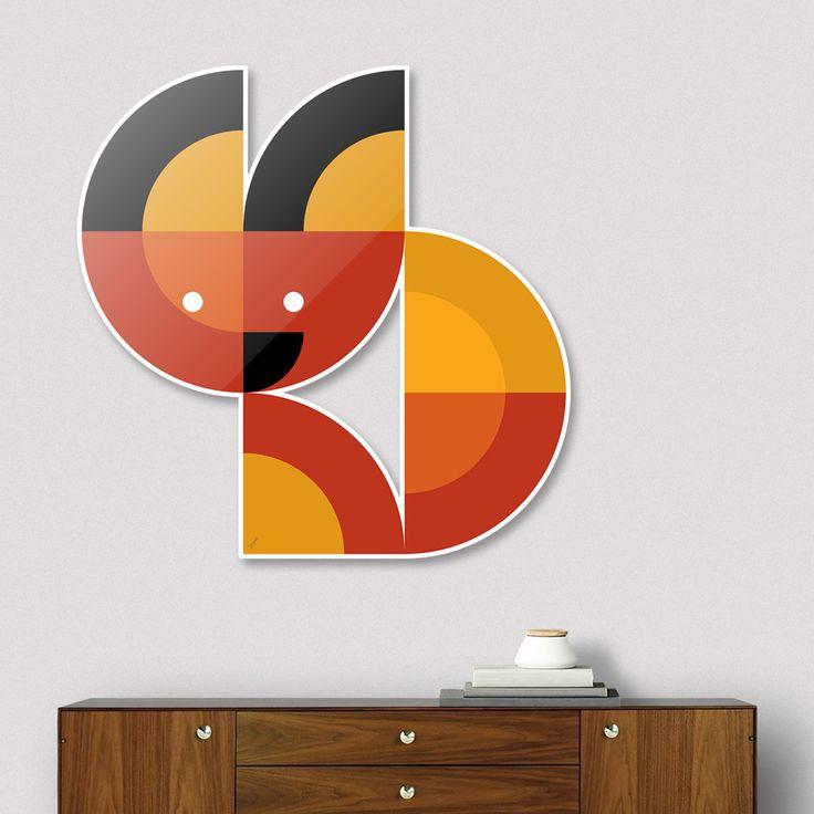 #DieCut #Aluminum #Print of #Geometric #Animals.  #Home #Decor Series by Vaggelis Arabatzoglou!  Available in a variety of #Art #Prints on #Curioos! #2dart #quadrant #geometric #design #homedecor #kidsroom #livingroom #lifestyle #abstract #graphicdesign #vectorart #illustration #contemporary #mammals #fox #foxes #minimal