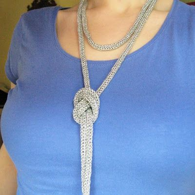 DIY Silver Metallic Yarn Spool Knit Glitter Knit Necklace