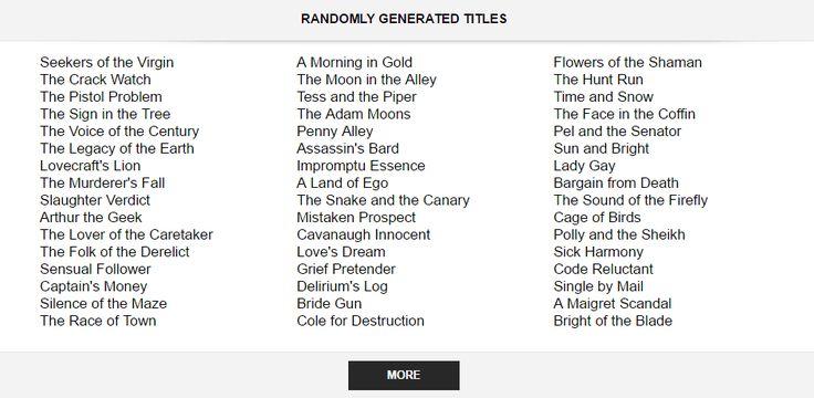 Random Story Title Generators! - The Puppet Show