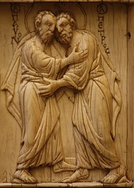 """Ss Peter & Paul embracing  """"Glorious are the apostles of Christ; they loved each other in this life; they are not separated in death"""" - Magnificat antiphon from First Vespers. This Byzantine ivory is from the Victoria and Albert Museum in London."""