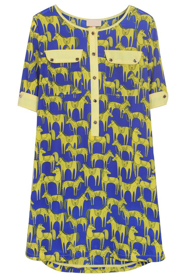 Blue Short Sleeve Horses Print Pockets Silk Dress