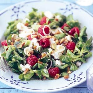 Lettuce with Feta and Raspberries