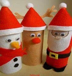 Sneeuwpop, Rendier, Kerstman van wc-rolletjes en vilt