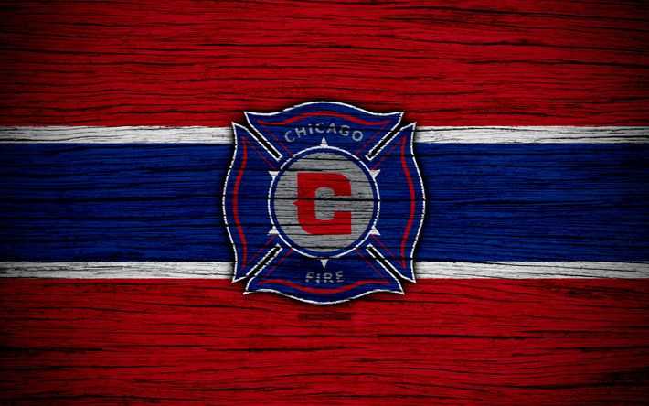 Download wallpapers Chicago Fire, 4k, MLS, wooden texture, Eastern Conference, football club, USA, Chicago Fire FC, soccer, logo, FC Chicago Fire