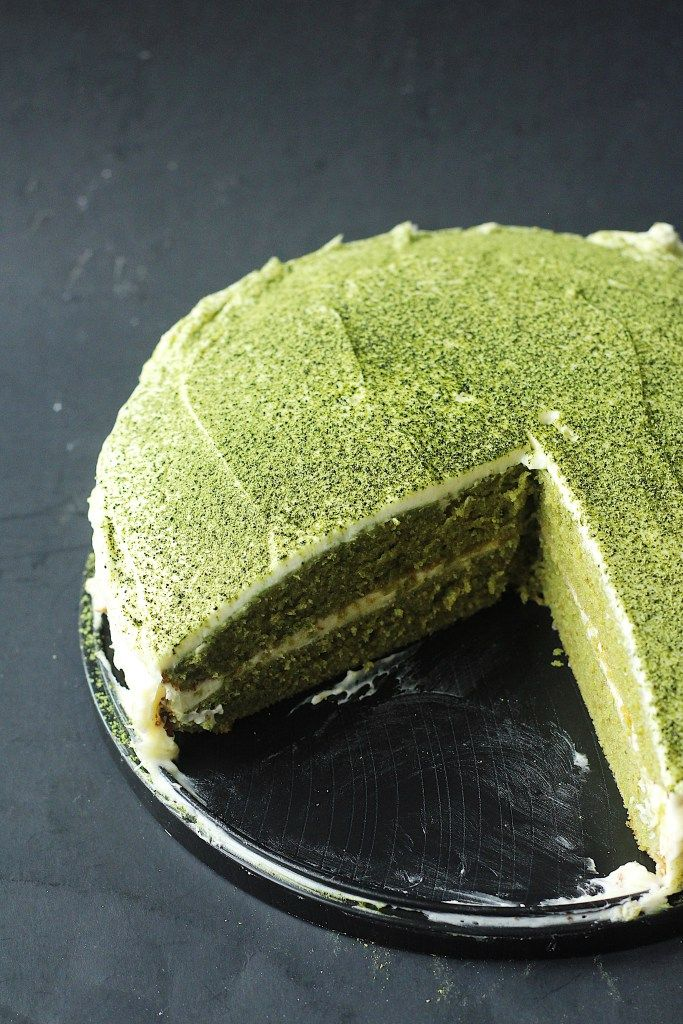 Matcha Green Tea Cake With Black Sesame Frosting And Brittle