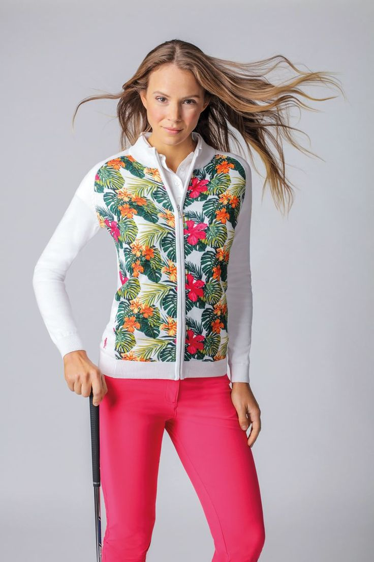 Ladies Cotton Zip Through Tropical Floral Printed Golf Sweater