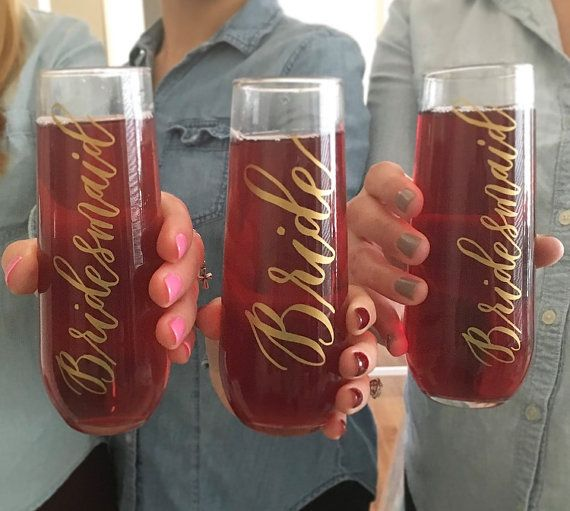 Add a personalized touch to your wedding day or bachelorette party with stemless champagne flutes for your bridal party. All the fun, without