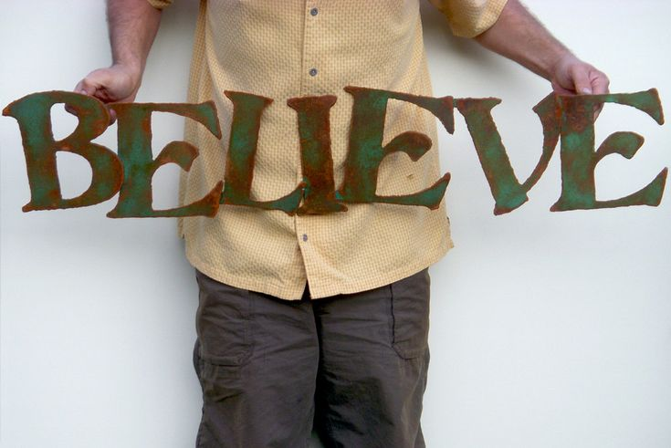 "Believe wall art 42"" custom sign metal sign green rust patina steel sign. $67.00, via Etsy."