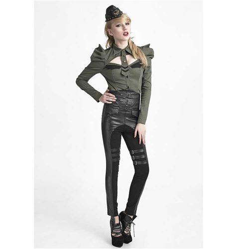Control Freak high waist skinny broek met corset koord detail en gespen zwart - Gothic Glamrock