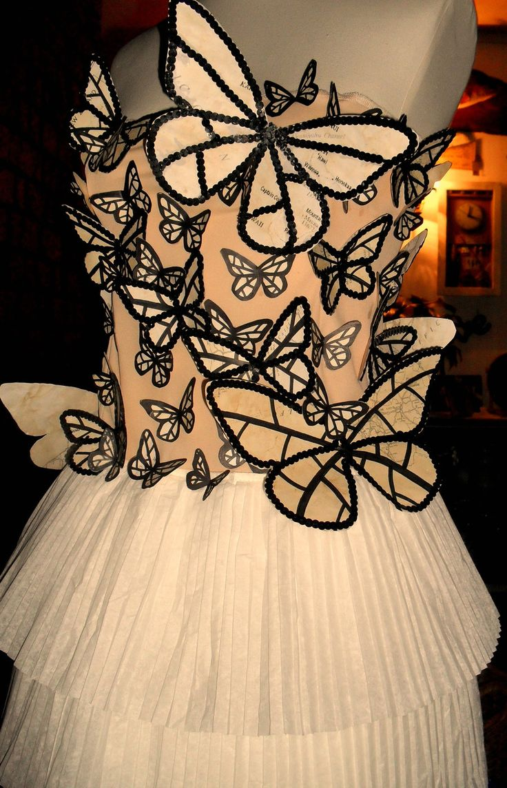 Paper Butterfly Dress could work with the blue butterfly tree...make them meld into one