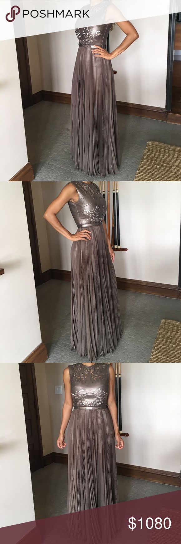 Laser cut Leather and Silk Chiffon Gown Dress Only one time used for a wedding. Perfect wedding guest. Bronze color. Belt. 50% off. Believe me you will be the sensation of the gala! Catherine Deane Dresses Wedding