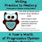 """Since you can use this developmental packet as your kinders progress for different opinion writing topics, it is truly """"A Year's Worth of Opinion Writing Practice!"""""""