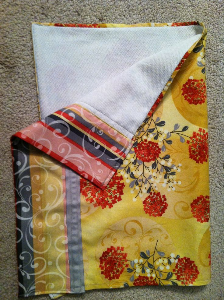 Sewing project - Kitchen Towel.  2 coordinating fabrics and ribbon with fabric liner (fabric used to make diapers, so super absorbent).