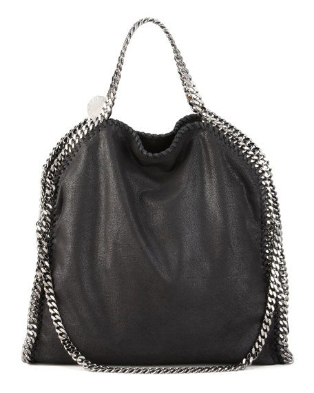 STELLA MCCARTNEY Falabella Fold Over Tote, Black, Bright Blue. #stellamccartney #bags #shoulder bags #hand bags #leather #tote #lining #