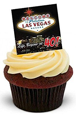 40TH BIRTHDAY LAS VEGAS CASINO - Fun Novelty PREMIUM STAND UP Edible Wafer Paper Cake Toppers Decoration