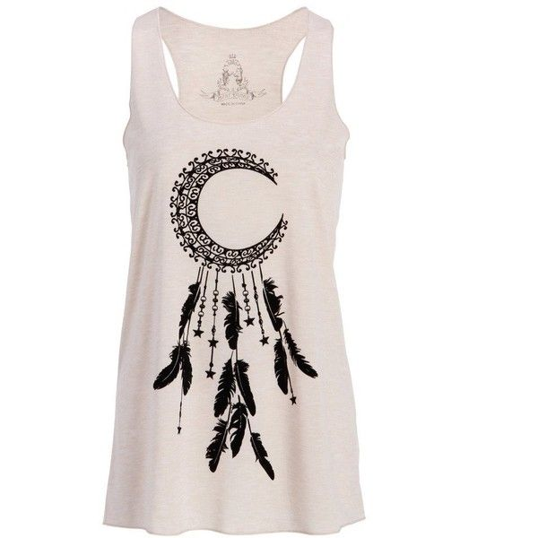 Womens Crescent Moon Dream Catcher Loose Fit Tank Top Muscle Tee (270 ZAR) ❤ liked on Polyvore featuring tops, loose tank, pink camisole, loose tank tops, loose fit tank and camisole tank tops