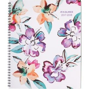 At-A-Glance June Academic Wkly/Mthly Planner  Wirebound planner features an elegant floral design with purple, teal and pink flowers that look as if they were hand-painted with watercolors. 12-month date range helps you plan for a full academic calendar year from July to June with count of days/days remaining.   AAG1012905A | formydesk.com