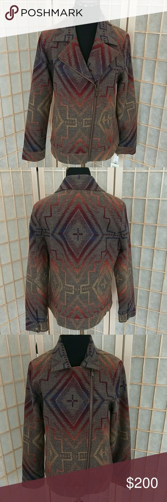NWT Pendleton wool jacquard moto jacket NWT Pendleton brand collaboration with Lucky Brand wool Sundown jacquard wool motorcycle jacket. Full lined. Zipper closure. Medium Women's size. Southwest classic design. 100% wool. Lining Polyester 100%. Rainbow. Pendleton Jackets & Coats