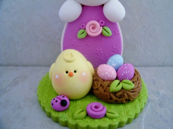 Bunny  Chick  Nest of Easter Eggs  Polymer by countrycupboardclay
