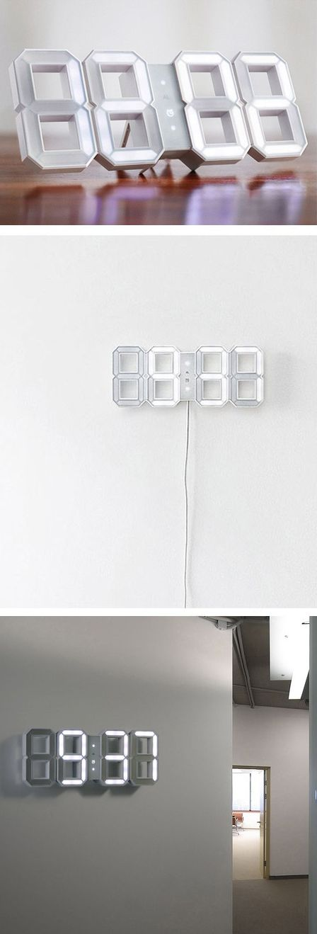 Digital LED Clock White by KIBARDINDESIGN // very. very. cool. #productdesign #lightingdesign