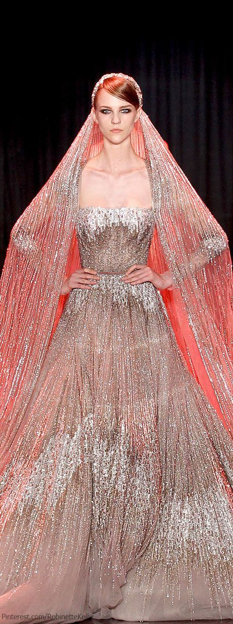 Gorgeous silver wedding gown by Elie Saab.
