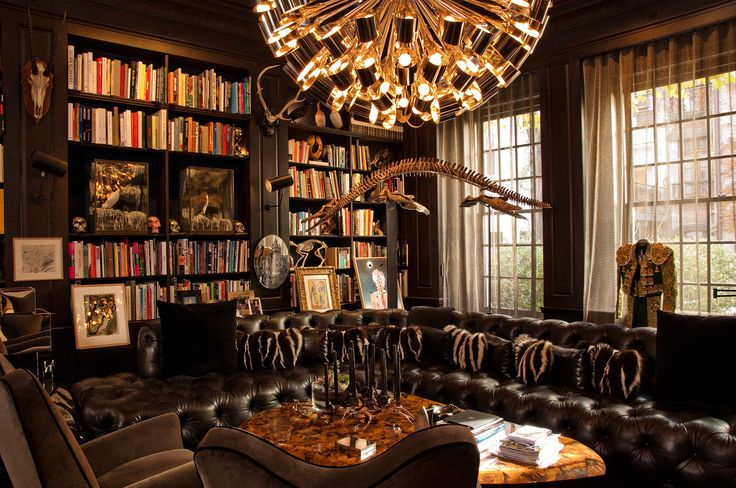 Amazing Home Library Design With Black Leather Upholstered Sofa L Shaped On The Floor And Beautiful Chandelier Hang On The Ceiling Also Dark Brown Wooden Wall Bookshelves Mounted On The Wall As Well As Home Library Furniture Ideas  Plus Bookshelves For Libraries , Awesome Ideas Of Building A Home Library Design: Furniture, Interior