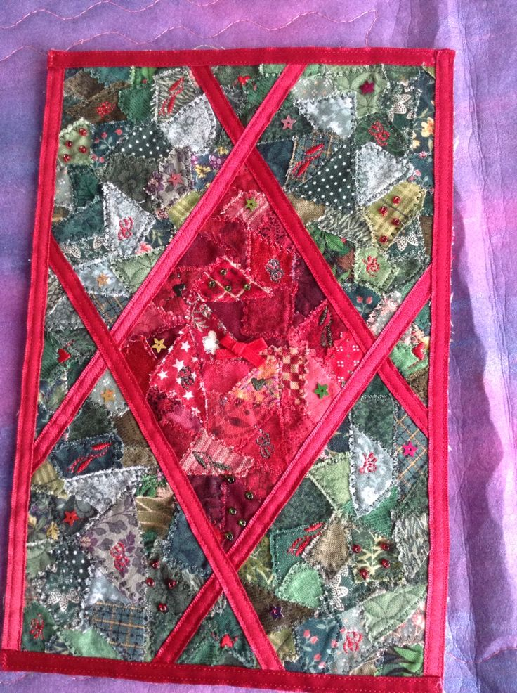 Crazy patchwork miniature quilt