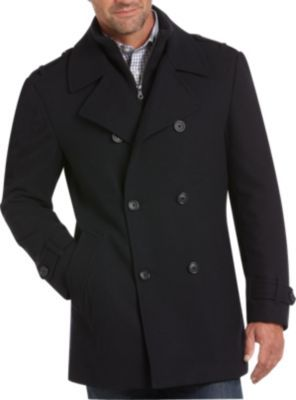 Pronto Uomo Black Peacoat with Removable Bib - Peacoats   Men's Wearhouse on sale $100