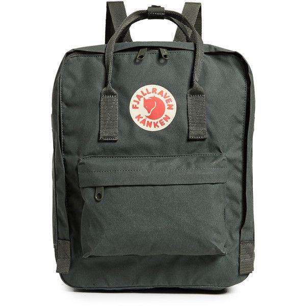 Fjallraven Kanken Backpack ($82) ❤ liked on Polyvore featuring bags, backpacks, forest green, fjallraven rucksack, wrap bag, day pack backpack, zip backpack and fjallraven bag