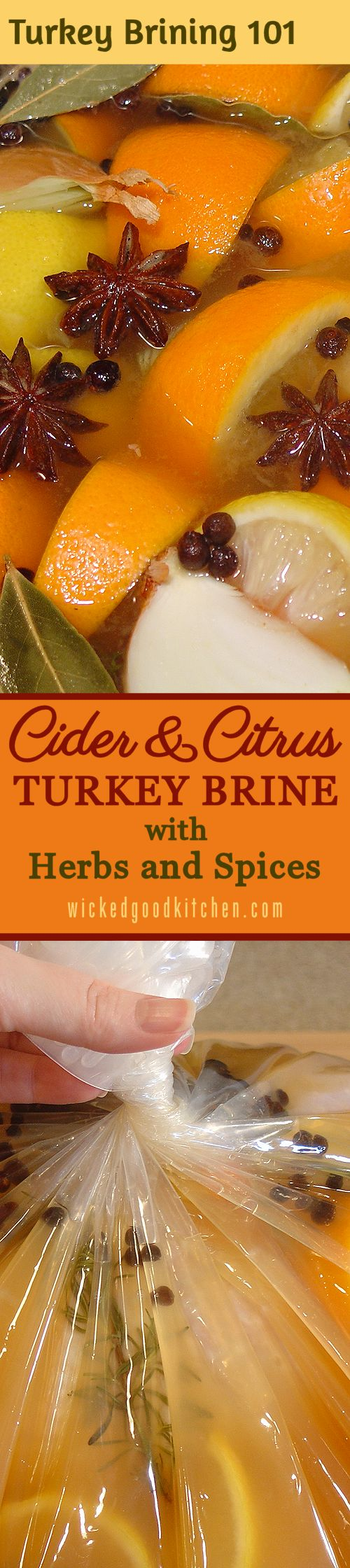 Apple Cider & Citrus Turkey Brine with Herbs and Spices ~  An exceptional turkey brine consisting of both apple cider and citrus juices as well as herbs and spices with just the right amount of salt to ensure a tender, juicy roasted holiday turkey! Includes TURKEY BRINING 101: How-To Tutorial with Step-by-Step Photos & Tips. | #Christmas #Thanksgiving #Holidays diy recipe