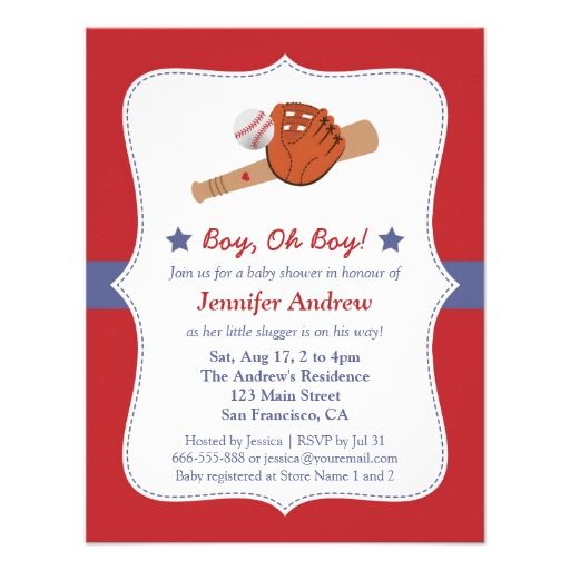 Baseball Star baby boy shower party Personalized Invites