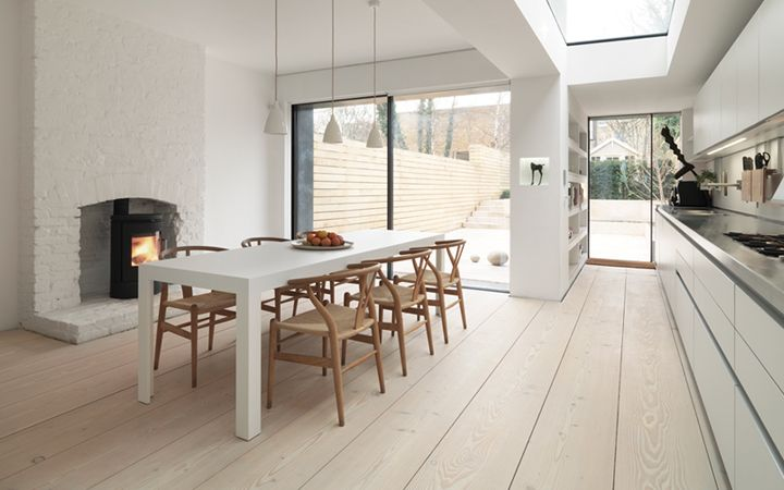 That skylight! And that back yard!: Wishbone Chairs, Macdonald Wright, Dining Rooms, Kitchens Design, White Tables, Kitchens Tables, Wood Floors, White Wall, White Kitchens