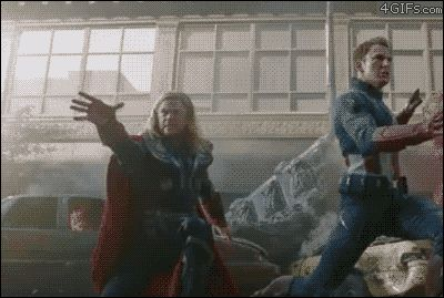 Best gif. ever from The Avengers blooper reel. The best thing is that I could see Thor doing this anyway