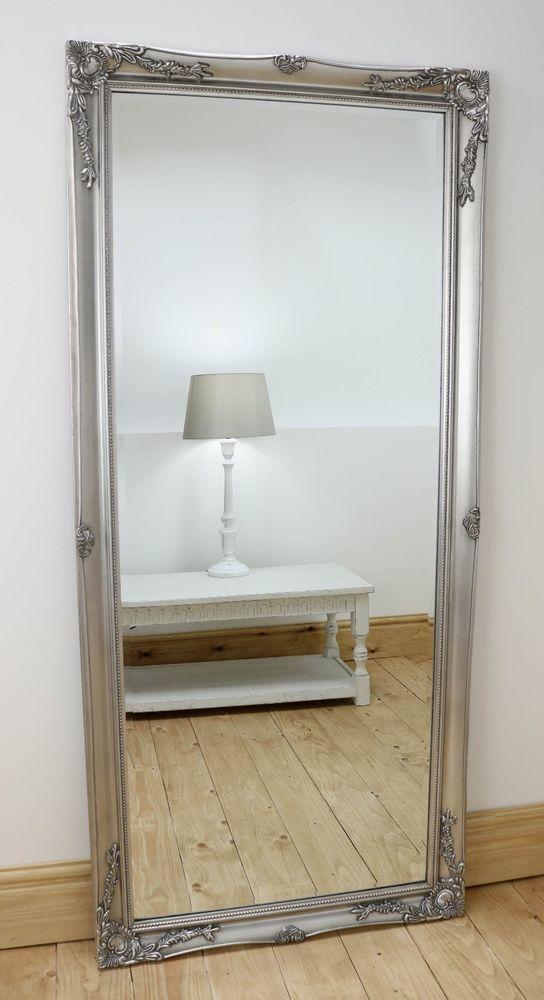 Isabella Silver Shabby Chic Full Length Antique Floor Mirror 66  x 30  XL