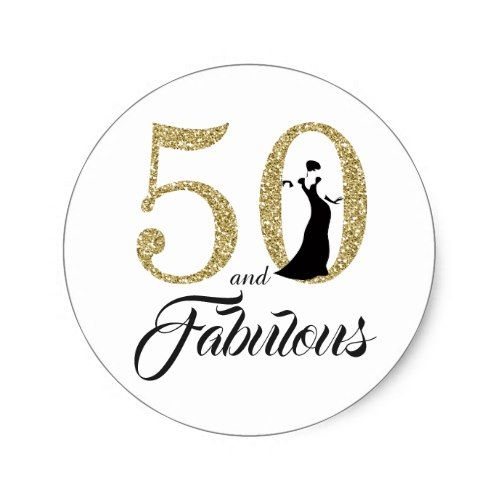 50th And Fab: Typography 50th Birthday Classic Round
