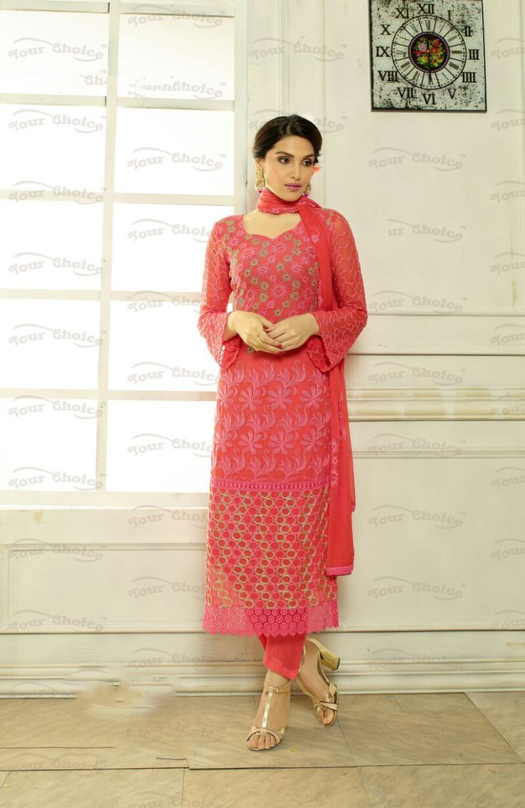 Designer Embroidery Long Salwar Suit Collection - Ready To Stitch Material / Pink And Multi Color Heavy Lace And Embroidery Work Straight Cut Long Salwar Suits For Party / Wedding / Special Occasion - Ready to Stitch