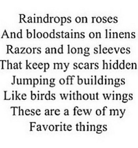 Raindrops, Bloodstains, Razors, Long Sleeves, Hidden Scars, and Jumping Off Buildings