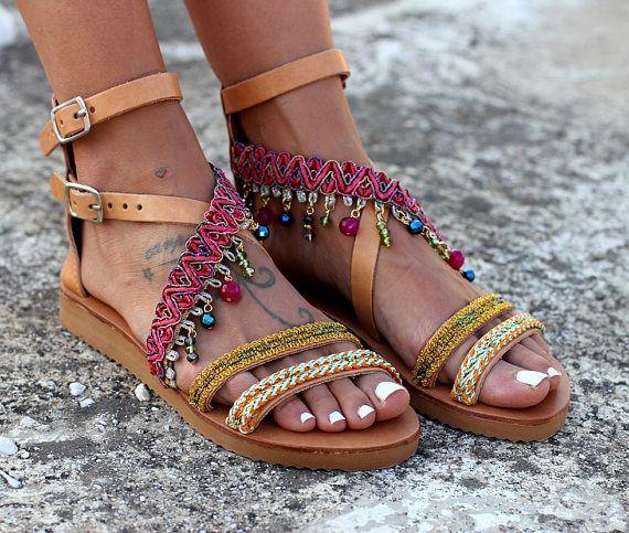 Sandalias de cuero hecho a mano sandalias de cuero griego
