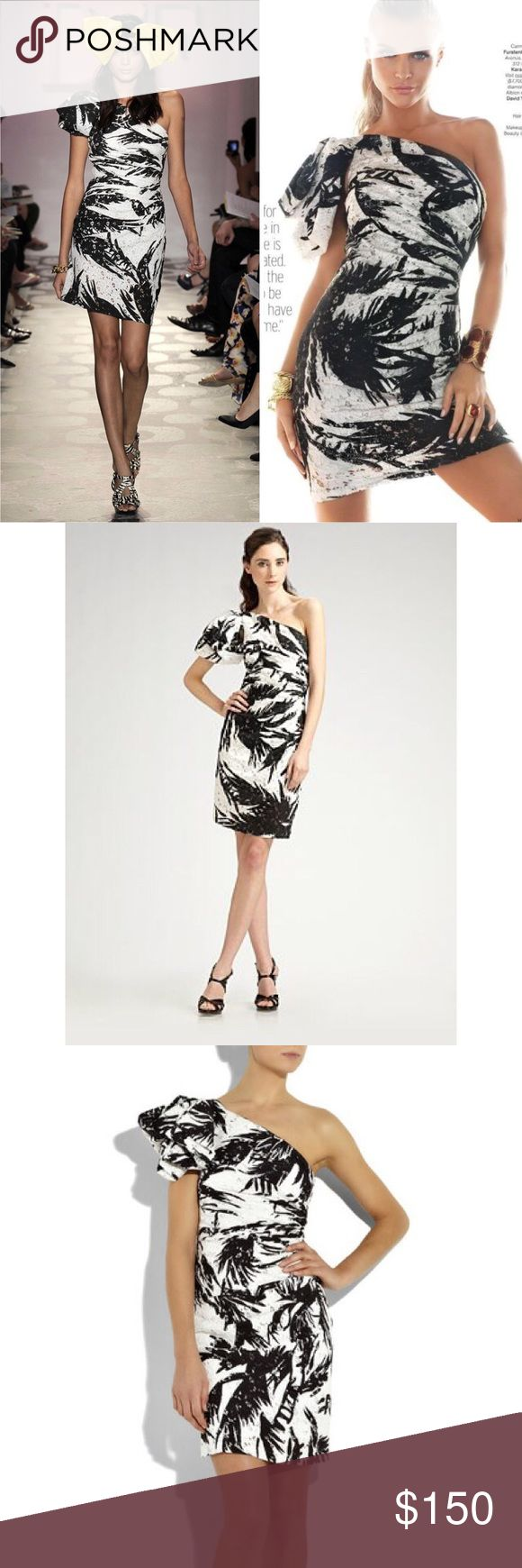 "▪️DVF Carmona Palms Black White One Shoulder Dress Diane von Furstenberg's black & white laceprint dress. Let this one-shoulder style take center stage by adding simple black accessories.  Dress has a gathered side, ruffle detail at puffed shoulder, side zip-fastening, one short sleeve and is fully lined in stretch-silk. 100% cotton; lining: 92% silk, 8% spandex. Dry clean. *Gently used, cared for, no stains*  Style# D8825600J10  See pic for measurements. 36"" length  DVF Resort Runway Show…"